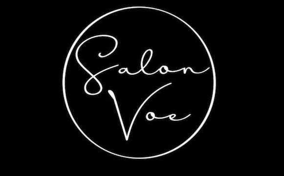 circular logo on black background with Salon Voe written in script font